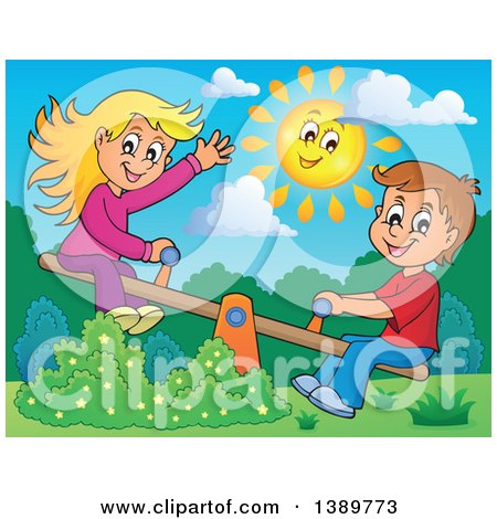 Clipart of a Happy Sun over a White Boy and Girl Playing on a See Saw Teeter Totter - Royalty Free Vector Illustration by visekart