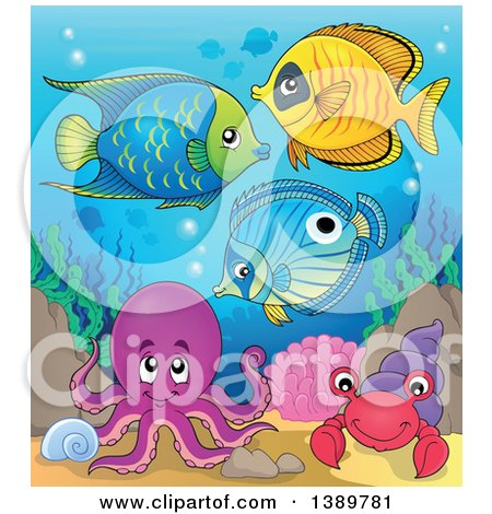 Clipart of Marine Fish Under the Sea - Royalty Free Vector Illustration by visekart