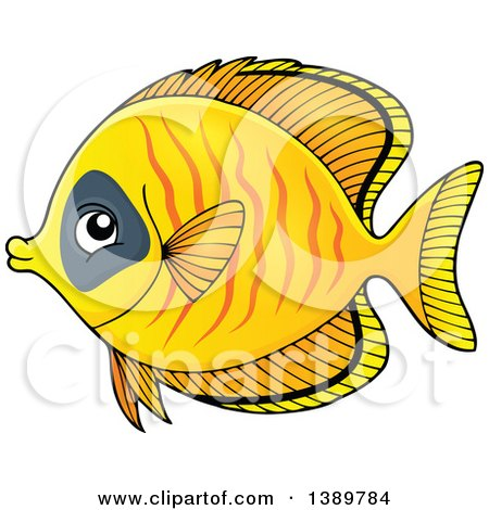 Clipart of a Yellow Marine Fish - Royalty Free Vector Illustration by visekart