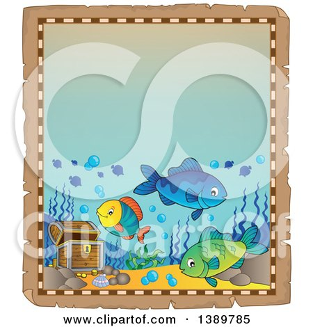 Clipart of an Aged Parchment Page Border with Marine Fish and Sunken Treasure - Royalty Free Vector Illustration by visekart