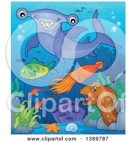 Clipart of Sea Life Underwater - Royalty Free Vector Illustration by visekart