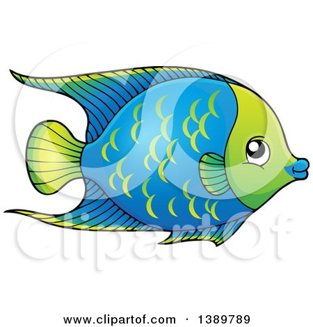 Clipart of a Blue and Green Fish - Royalty Free Vector Illustration by visekart