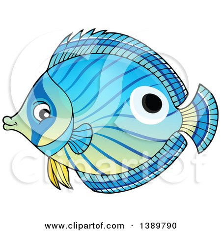 Clipart of a Blue Marine Fish - Royalty Free Vector Illustration by visekart