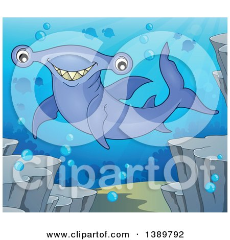 Clipart of a Happy Hammerhead Shark Underwater - Royalty Free Vector Illustration by visekart