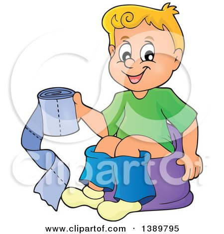Clipart of a Cartoon Happy Blond White Boy Sitting on a Potty Training Chair and Holding Toilet Paper - Royalty Free Vector Illustration by visekart