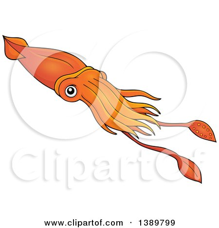 Clipart of a Cartoon Orange Squid - Royalty Free Vector Illustration by visekart