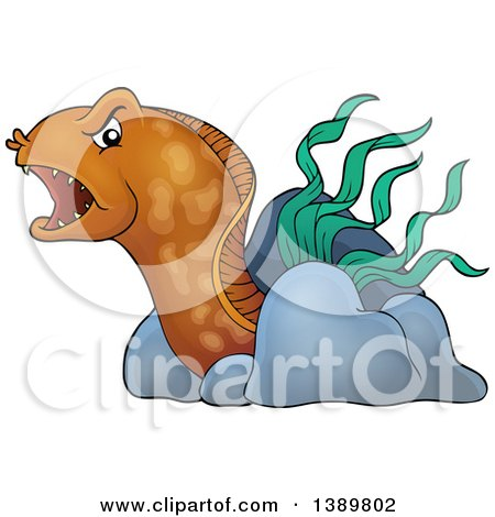 Clipart of a Brown Eel with Rocks and Sea Weed - Royalty Free Vector Illustration by visekart