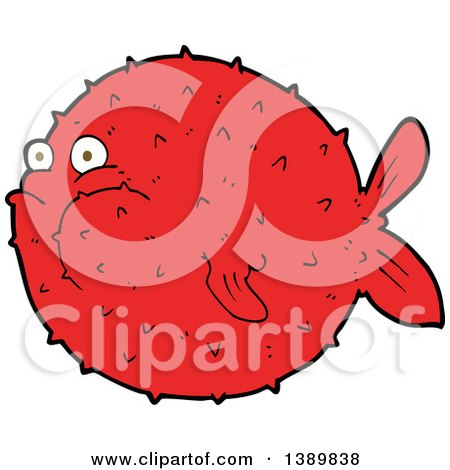 Clipart of a Red Puffer Blow Fish - Royalty Free Vector Illustration by lineartestpilot