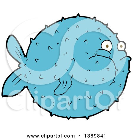 Clipart of a Blue Puffer Blow Fish - Royalty Free Vector Illustration by lineartestpilot