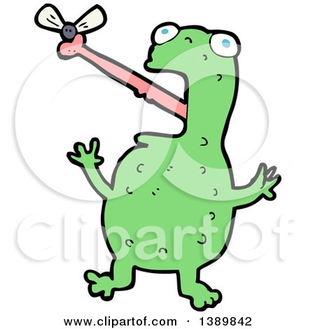 Clipart of a Cartoon Frog Catching a Bug - Royalty Free Vector Illustration by lineartestpilot
