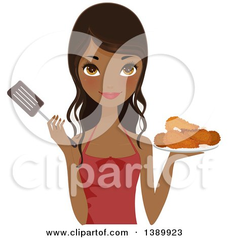Clipart of a Pretty African American Chef Woman Holding a Plate of Fried Chicken and a Spatula - Royalty Free Vector Illustration by Melisende Vector