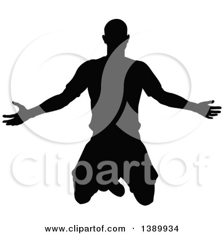 Clipart of a Black Silhouetted Male Soccer Player Kneeling or Jumping - Royalty Free Vector Illustration by AtStockIllustration