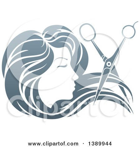 Clipart of a Woman's Head in Profile, with Long Hair and Scissors Snipping off a Lock - Royalty Free Vector Illustration by AtStockIllustration