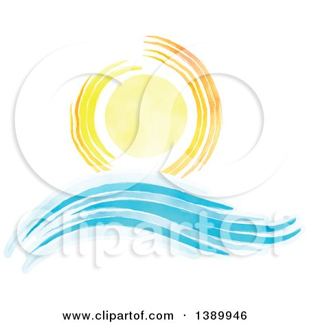 Clipart of a Watercolor Sun Shining over Waves - Royalty Free Vector Illustration by KJ Pargeter