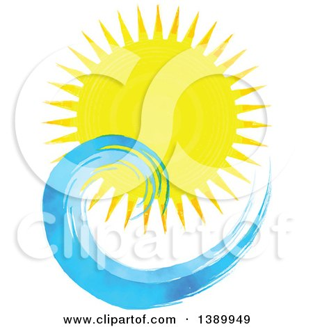 Clipart Of A Watercolor Sun Shining Over Waves Royalty Free Vector Illustration