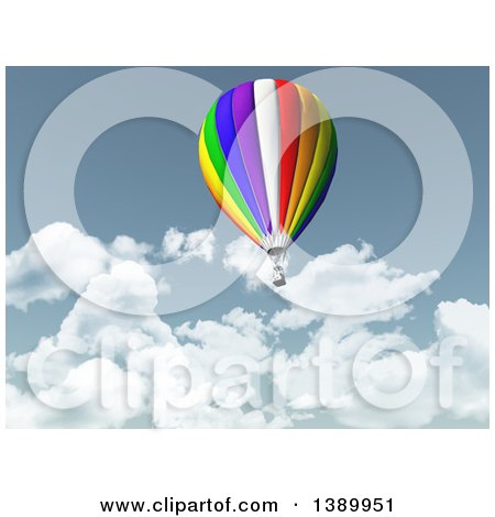 Clipart of a 3d Colorful Hot Air Balloon and Clouds - Royalty Free Illustration by KJ Pargeter