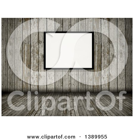 Clipart of a 3d Old Wood Room Interior with a Blank Picture Frame - Royalty Free Illustration by KJ Pargeter
