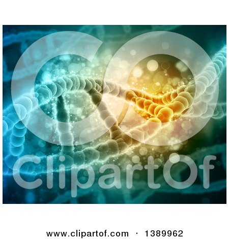 Clipart of a Background of 3d DNA Strands - Royalty Free Illustration by KJ Pargeter