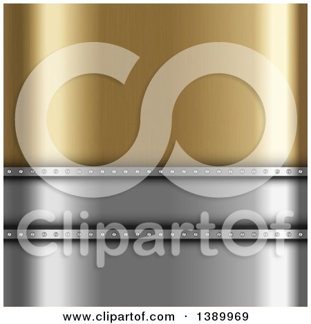 Clipart of a Background of Gold and Silver - Royalty Free Vector Illustration by KJ Pargeter