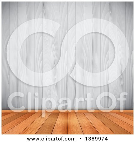 Clipart of a Background of Wood Flooring Meeting a White Wood Wall - Royalty Free Vector Illustration by KJ Pargeter