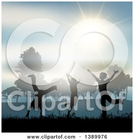 Clipart of Silhouetted Children Playing in the Country Side, Under a Sunny Sky - Royalty Free Vector Illustration by KJ Pargeter