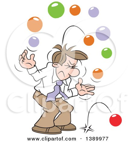 Clipart of a Cartoon Brunette White Business Man with Too Many Balls in the Air - Royalty Free Vector Illustration by Johnny Sajem