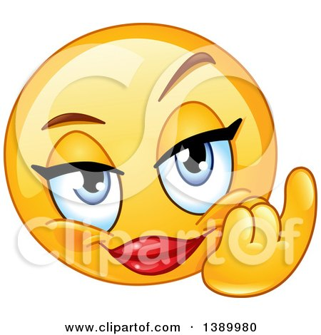 Clipart of a Cartoon Flirty Female Yellow Smiley Face ...