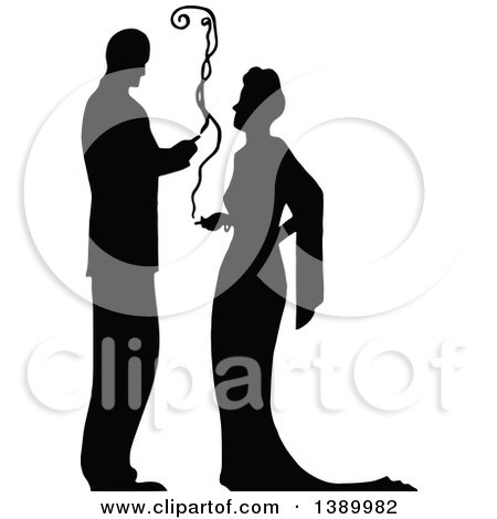 Clipart of a Vintage Black and White Silhouetted Couple Smoking Cigarettes - Royalty Free Vector Illustration by Prawny Vintage