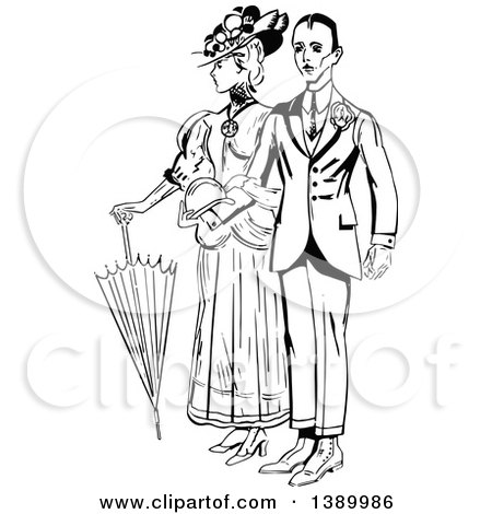 Clipart of a Vintage Black and White Couple Standing Arm in Arm - Royalty Free Vector Illustration by Prawny Vintage