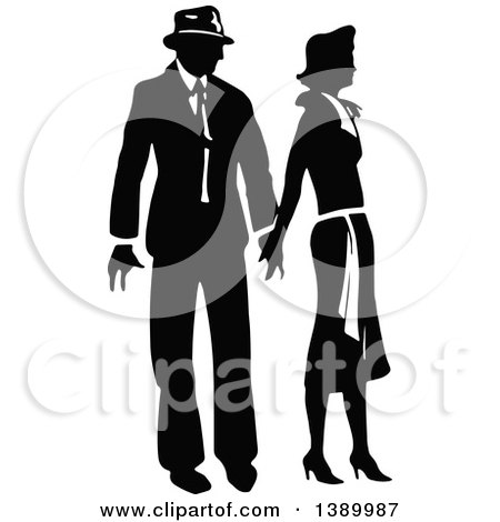 Clipart of a Vintage Black and White Couple Holding Hands - Royalty Free Vector Illustration by Prawny Vintage