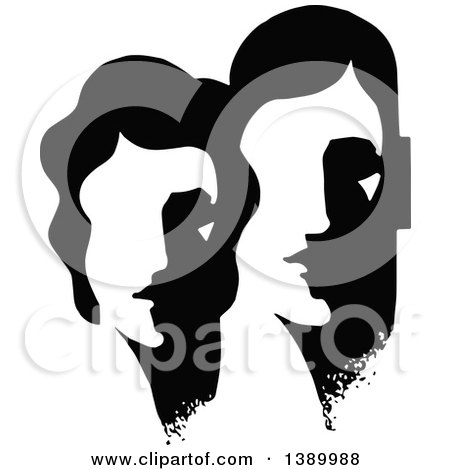 Clipart of a Vintage Black and White Abstract Couple - Royalty Free Vector Illustration by Prawny Vintage