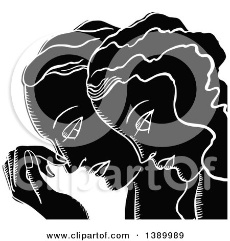 Clipart of a Vintage Black and White Couple in Profile - Royalty Free Vector Illustration by Prawny Vintage