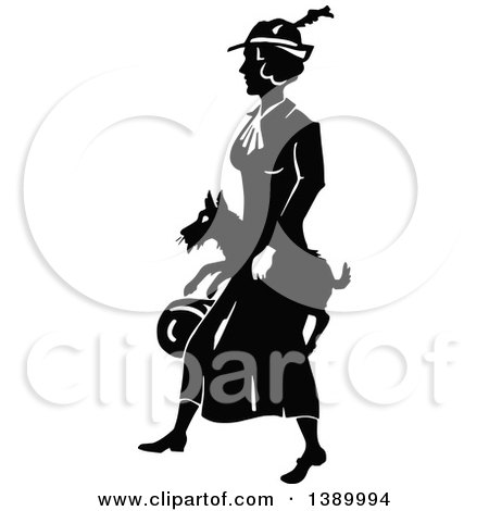 Clipart of a Vintage Black and White Woman Carrying Her Dog - Royalty Free Vector Illustration by Prawny Vintage