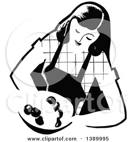 Clipart of a Vintage Black and White Woman Wearing an Apron and Holding a Plate - Royalty Free Vector Illustration by Prawny Vintage