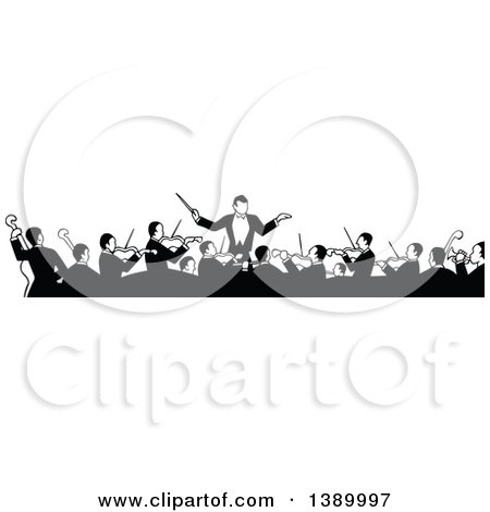 Clipart of a Vintage Black and White Orchestra and Conductor - Royalty Free Vector Illustration by Prawny Vintage