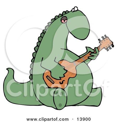 Big Green Musical Dinosaur Singing and Strumming a Guitar Clipart Illustration by djart