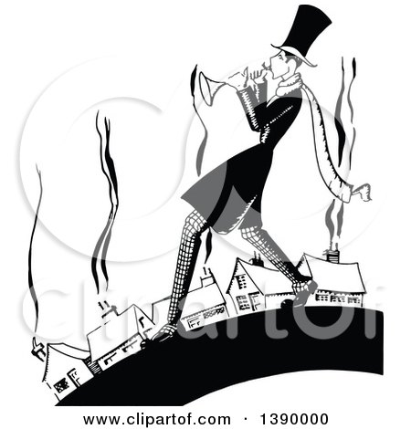 Clipart of a Vintage Black and White Man Playing a Trumpet near Houses - Royalty Free Vector Illustration by Prawny Vintage