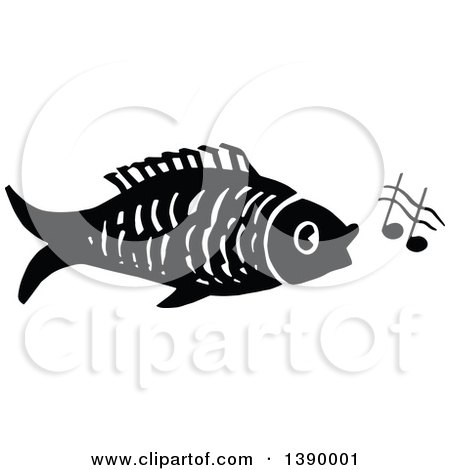Clipart of a Vintage Black and White Fish Singing - Royalty Free Vector Illustration by Prawny Vintage