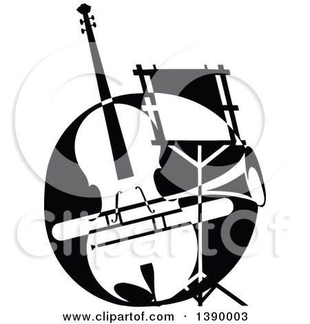 Clipart of a Vintage Black and White Violin or Viola, Trumpet and Music Stand - Royalty Free Vector Illustration by Prawny Vintage