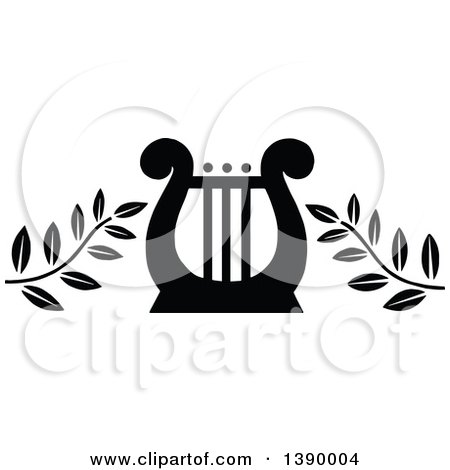 Clipart of a Vintage Black and White Lyre with Branches - Royalty Free Vector Illustration by Prawny Vintage