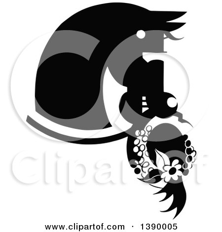 Clipart of a Vintage Black and White Horse Biting a Hat - Royalty Free Vector Illustration by Prawny Vintage