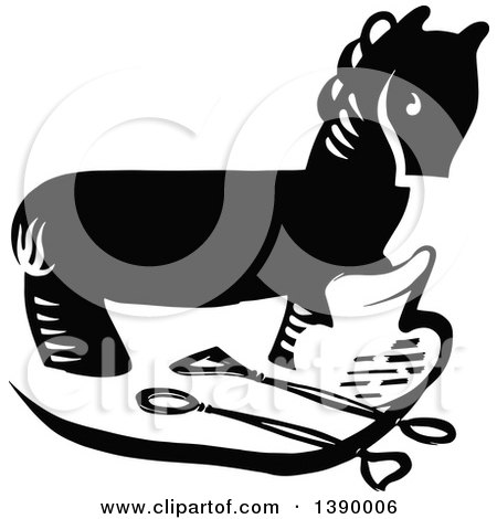 Clipart of a Vintage Black and White Sculpture of a Horse, and Tools - Royalty Free Vector Illustration by Prawny Vintage