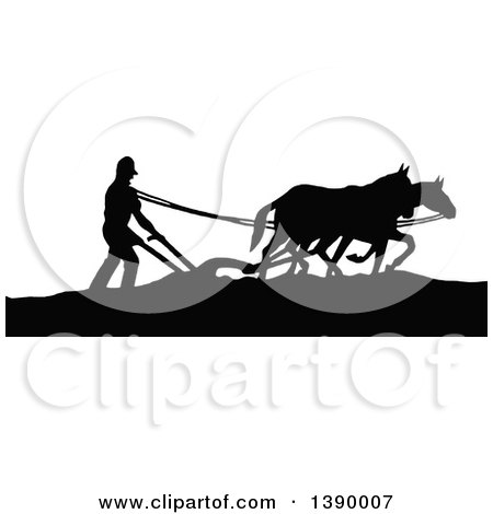 Clipart of a Vintage Black and White Silhouetted Farmer Ploughing with Horses - Royalty Free Vector Illustration by Prawny Vintage