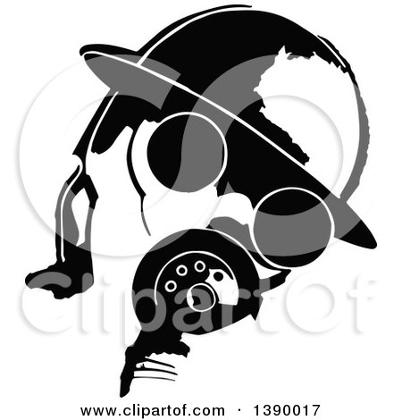 Clipart of a Vintage Black and White Man Wearing a Gas Mask - Royalty Free Vector Illustration by Prawny Vintage