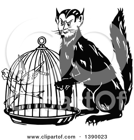 Clipart of a Vintage Black and White Man Cat and Canary Woman in a Cage - Royalty Free Vector Illustration by Prawny Vintage