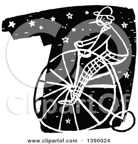 Clipart of a Vintage Black and White Man Riding a Penny Farthing Bicycle over Stars - Royalty Free Vector Illustration by Prawny Vintage