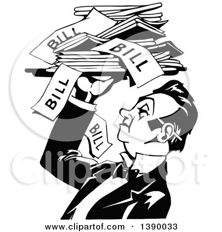 Clipart of a Vintage Black and White Male Waiter Holding a ...