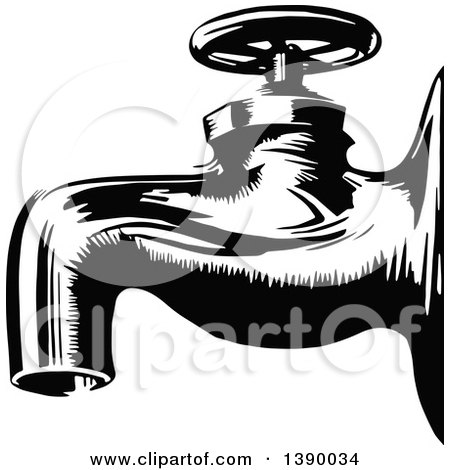 Clipart of a Vintage Black and White Tap Faucet - Royalty Free Vector Illustration by Prawny Vintage