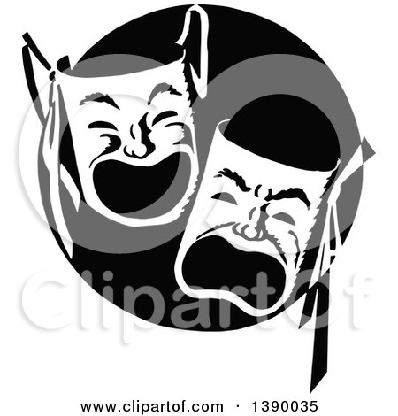 Clipart of Vintage Black and White Theater Masks - Royalty Free Vector Illustration by Prawny Vintage