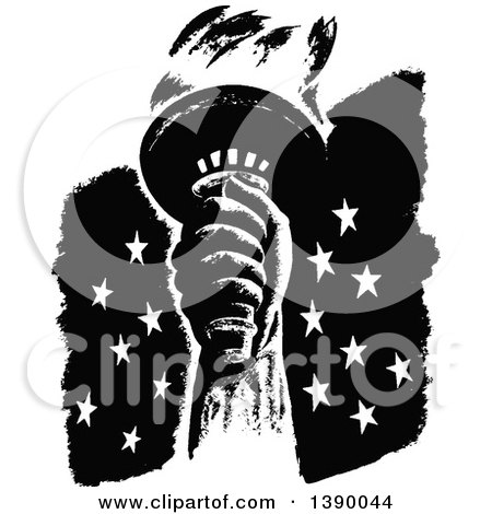 Clipart of a Vintage Black and White Liberty Torch over Stars - Royalty Free Vector Illustration by Prawny Vintage